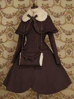 Lolita Sweety Winter Autumn Lady Scarf Fur Collar Uniforms Cosplay Costume Free Shipping + Bag