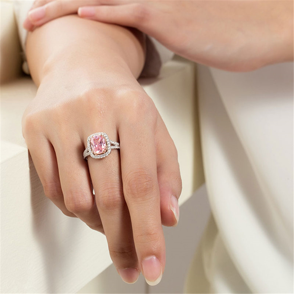 HTB1QszkPNTpK1RjSZFKq6y2wXXaK PANSYSEN 100% Solid 925 Silver Jewelry Rings For Women 10x12mm Pink Spinel Diamond Fine Jewelry Bridal Wedding Engagement Ring