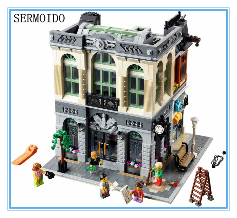 New LEPIN 15001 2413Pcs Creator Brick Bank Model Building Kits Blocks Bricks Toy Compatible With 10251 B215 lepin 22001 pirate ship imperial warships model building kits blocks 1717pcs brick toy compatible with lepin 10210