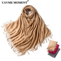 CAVME 2019 Cashmere Wool Scarf Women Ladies Largue Size Solid Color Scarves Handmade Tassels Shawls Wool Scarf 205*80cm 200g