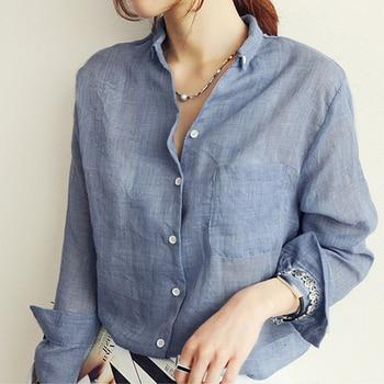 Chemisier Femme Womens Tops Fashion 2020 Summer Linen White Shirt Women Long Sleeve Blouse Korean Woman Clothes Roupas Femininas