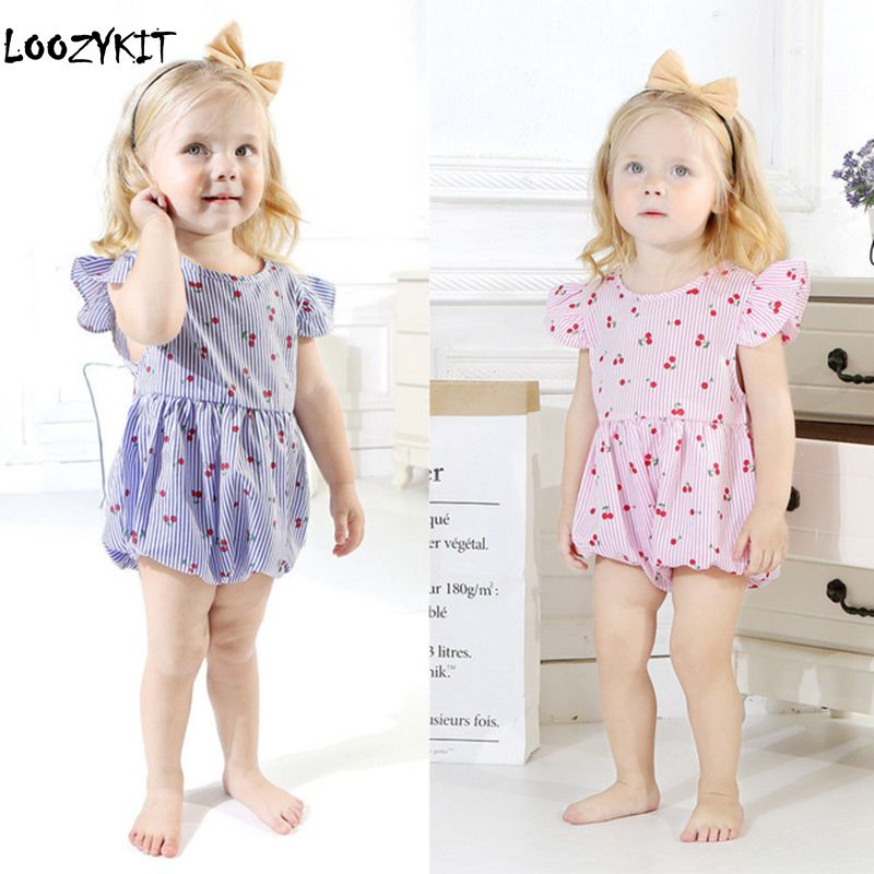 amazingdeal Toddler Kids Baby Girls Cherry Romper Jumpsuit Bodysuit Clothes Outfits