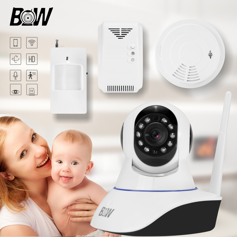 Infrared Security IP Camera 2 Way Audio +PIR Sensor + Gas Detector + Smoke Detector Alarm Device Surveillance Camera BW002S автомобильный видеорегистратор advocam fd black
