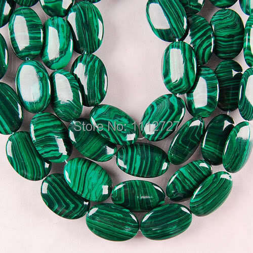 HOT 13X18MM Green Malachite Oval Loose Beads Jewelry Hand Made Natural Stone For Necklace Bracelet 15