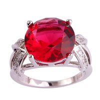lingmei Wholesale Charming Round Cut Pink Tourmaline & White Sapphire  Silver Ring Size  6 7 8 9 10 11 12 13 PRECIOUS JEWELRY