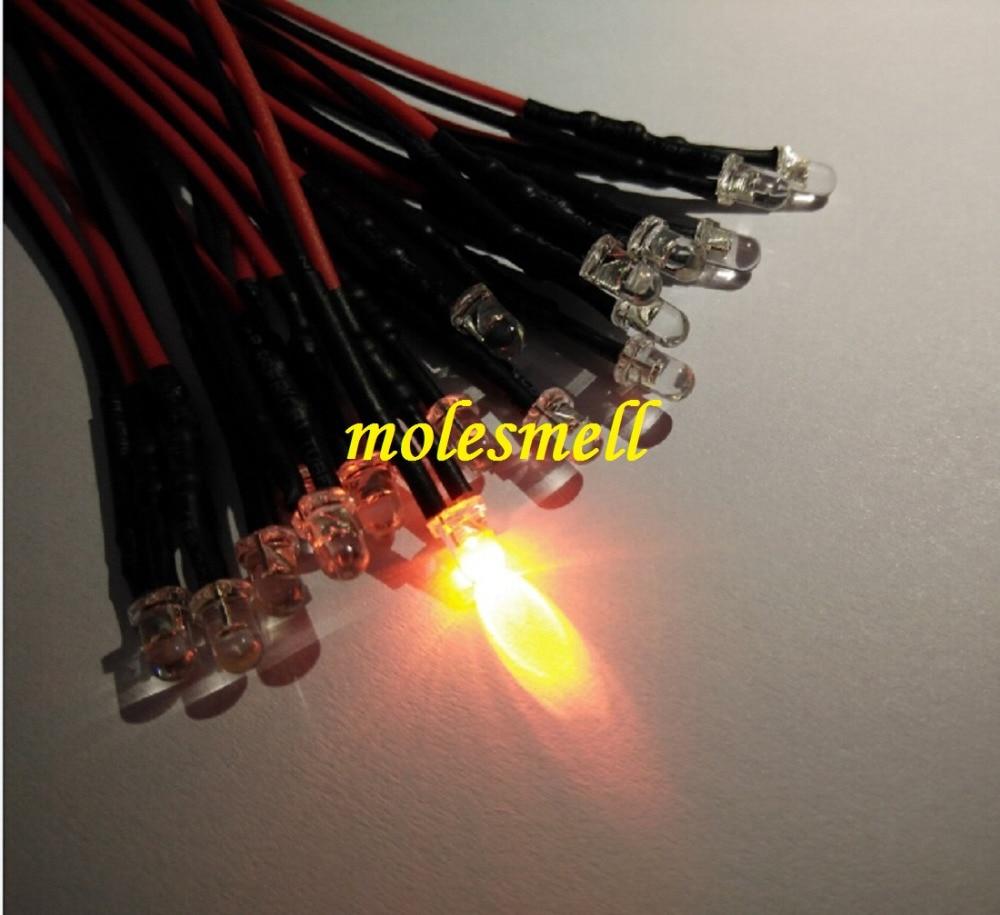 100pcs 3mm 5v Orange 5V DC Water Clear Round Orange Led Pre-Wired 20cm LED Light Lamp