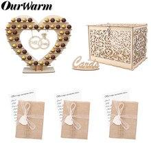 OurWarm rústico madera de boda barra de caramelo de tarjeta de invitación de papel caja de dinero obsequios para los invitados de cumpleaños boda fiesta suministros