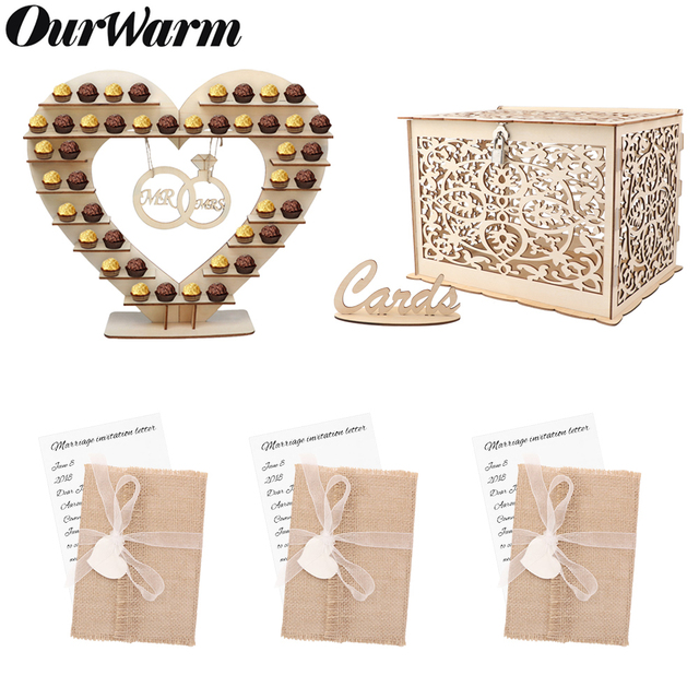OurWarm Rustic Wedding Wood Candy Bar Paper Invitation Card Money Box Gifts For Guest Birthday Wedding Favor Party Supplies