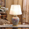Classical Europe Hand Painted Chinese Ceramic Fabric Led E27 Table Lamp for Wedding Decor Living Room Bedroom Dia 30*H49cm 1620