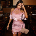 2017 New Winter Dress Women Short Sleeve O-Neck Luxury Evening Party Girl Tassel Beading Off The Shoulder Sexy Dresses Wholesale