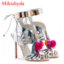 Mikishyda New Gladiator Sandals Women Pompom Tassel Ankle Strap Talon Femme Luxury Pumps Shoe High Heel Crystal Sandal