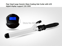 Hot Sale Curling iron Perm Pear Head Large Ceramic Glaze Coating Hair Curler Wand Rollers with LCD display 110-240V Freeshipping