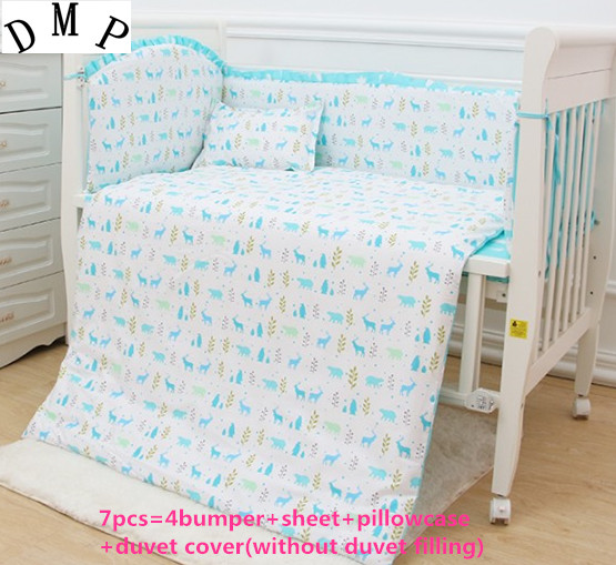 Promotion! 6/7PCS baby bedding sets detachable animal crib sets crib bumpers , 120*60/120*70cm