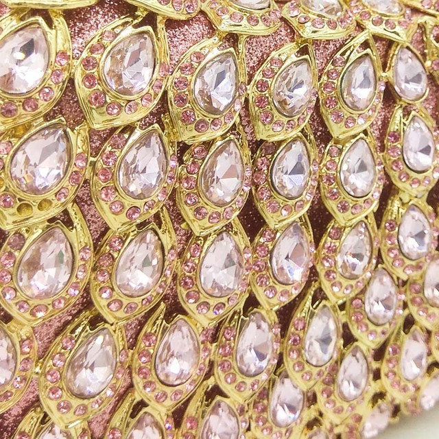 Boutique De FGG Pink Crystal Rhinestone Clutch Handbag Women Metal Minaudiere Top Handle Tote Purse Wedding Party Evening Bag