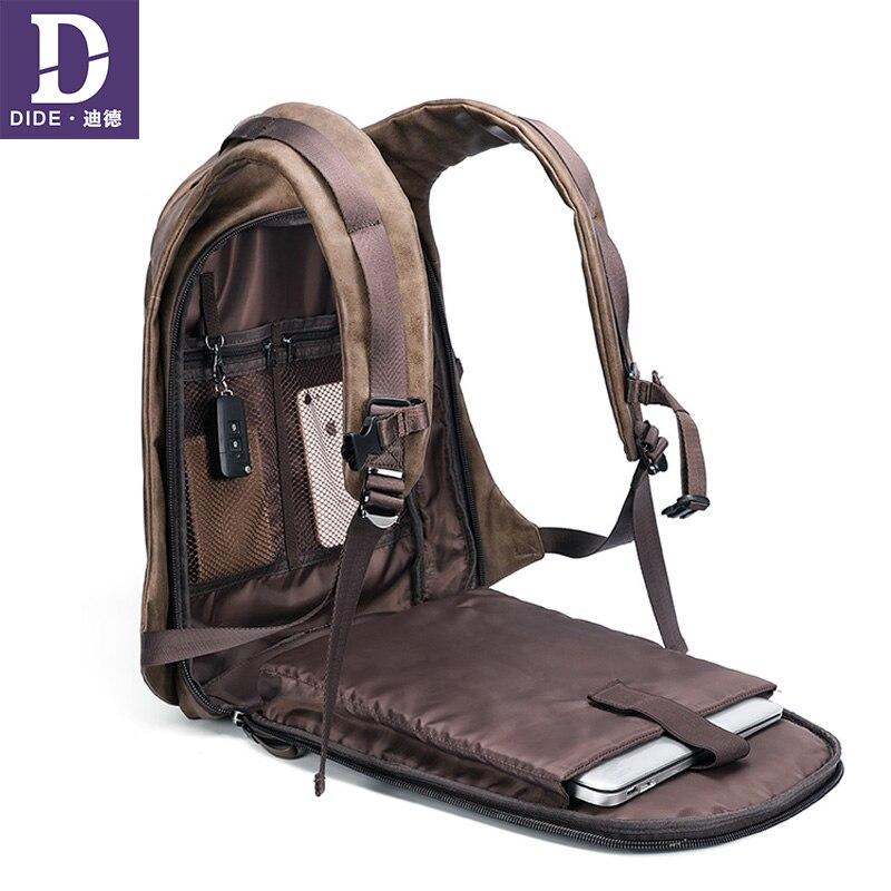 DIDE 2019 בציר גברים של תרמילי USB טעינת תרמיל בית ספר מחשב נייד תיק זכר נסיעות שקיות bagpack עור עמיד למים