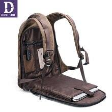 Купить с кэшбэком DIDE 2019 Vintage men's backpacks USB charging backpack Laptop school bag Male travel bags bagpack Leather Waterproof