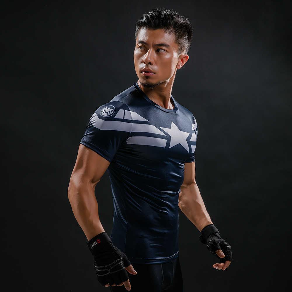 Для мужчин s Фитнес 3D принты Капитан Америка футболка для мужчин Бодибилдинг Кожа облегающие термокомпрессионные Рубашки Летние тренировки Футболка