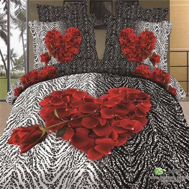 3D Red Rose Heart Black White Zebra Print Bedding Set Queen Size 100%  Cotton Duvet Cover Set Bed Sheets Pillowcase Bed In A Bag In Bedding Sets  From Home ...