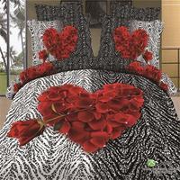 3D Red Rose Hart Zwart Wit Zebra Print Beddengoed Set Queen Size 100% Katoenen Dekbedovertrek Set Lakens Kussensloop Bed in een Zak