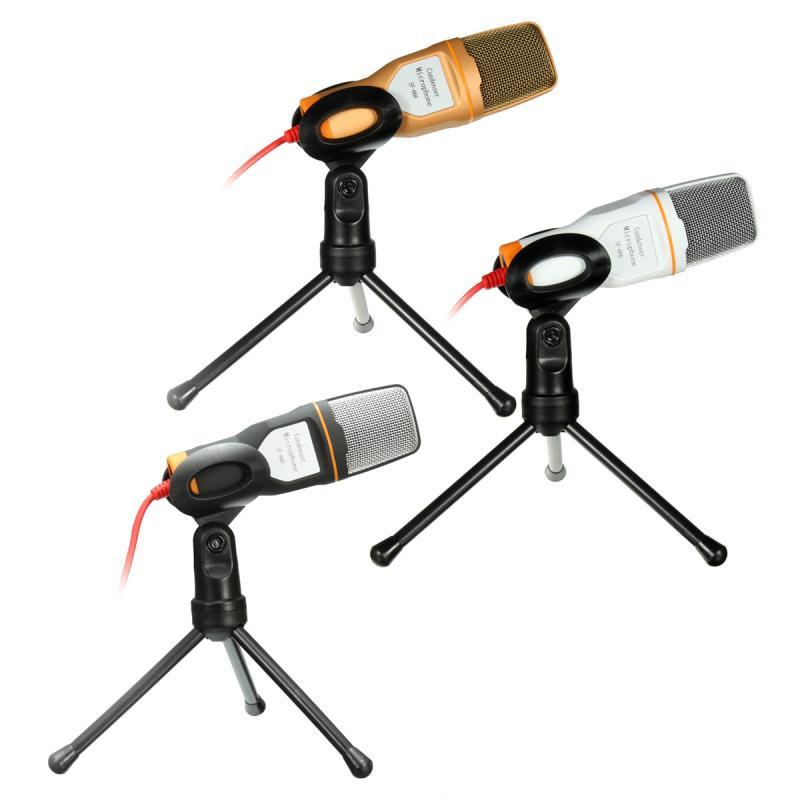 LEORY 3.5mm Desktop Condenser Microphones Mic With Stand Holder For PC Laptop Karaoke Sound Recording KTV Singing Meeting Speech