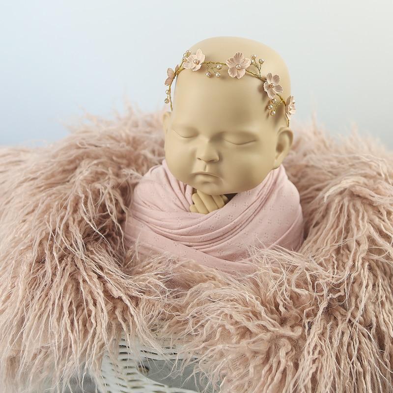noworodka faux futro koc fotografia rekwizyty do fotografowania tła - Pościel - Zdjęcie 4