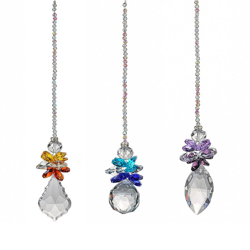 H&D Rainbow Suncatcher Clear 50mm/30mm Crystal Ball Angle Prisms Hanging Pendants Window Decor Home Fengshui Hanging Pendant