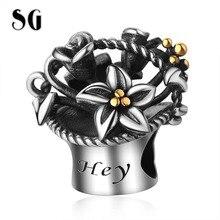 SG HOT New Design Fit pandora Bracelet 100% 925 Sterling silver  Romantic Flower basket Charms Rose beads for Women Gift Jewelr