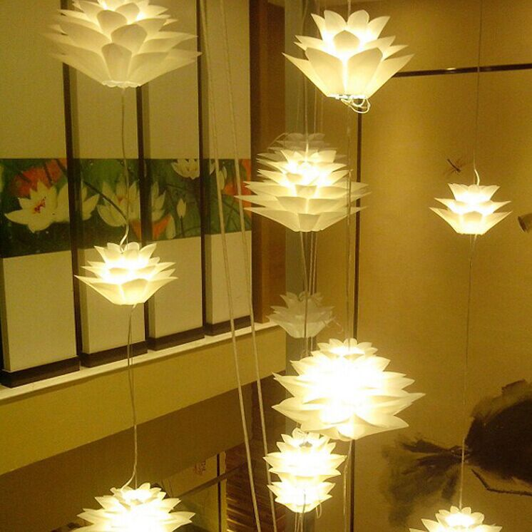 Us 15 44 22 Off 4 Color Lily Flowers Lamp Pendant Light Pvc 30 43 58cm Lotus Shape Diy Lampshade Bedroom Shops Droplight Hanging Light Fixture In