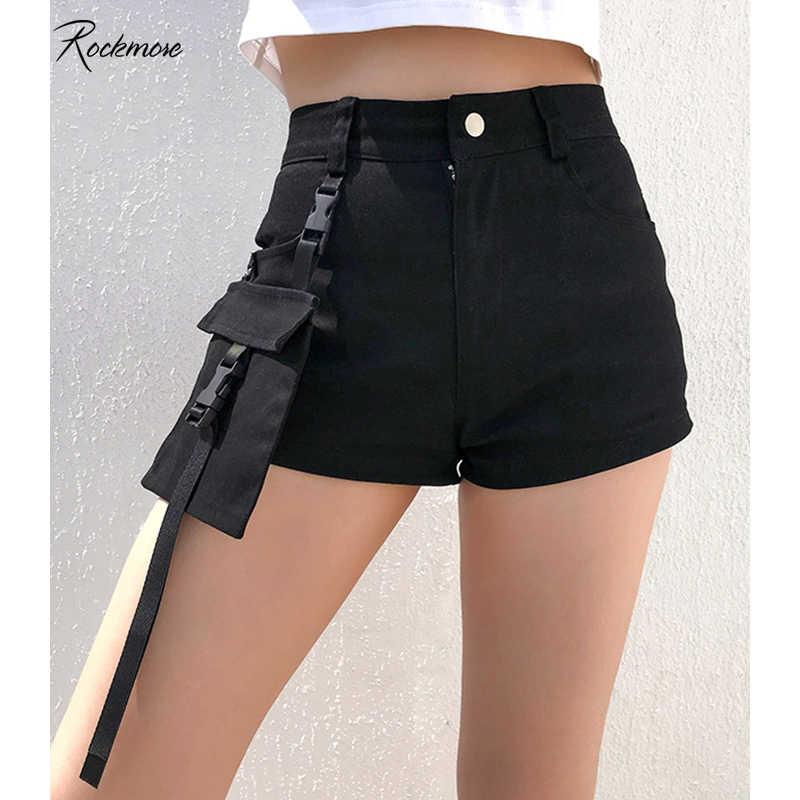 Rockmore lato czarny klamra kieszenie Gothic Denim mini szorty kobiet spodenki kobiece na co dzień krótkie mody krótkie spodnie Streetwear