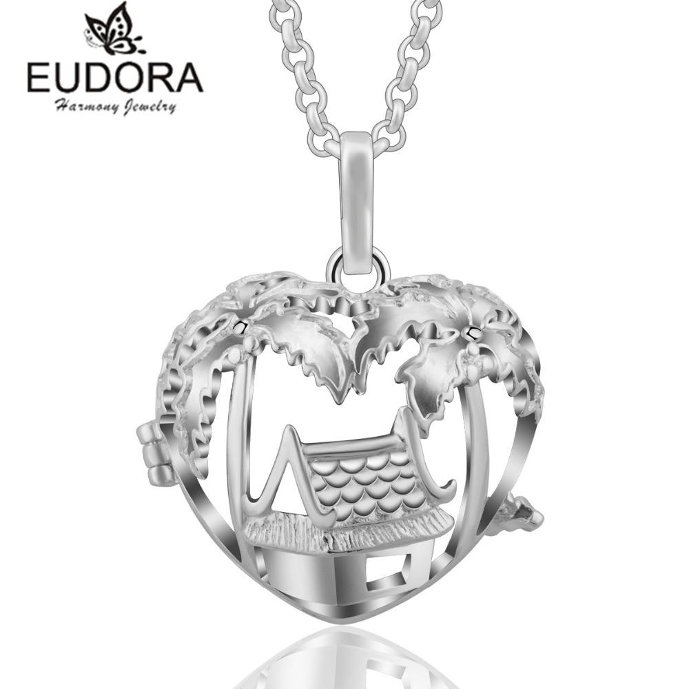 Eudora Harmony Heart Small House Locket Floating Cage Pendant