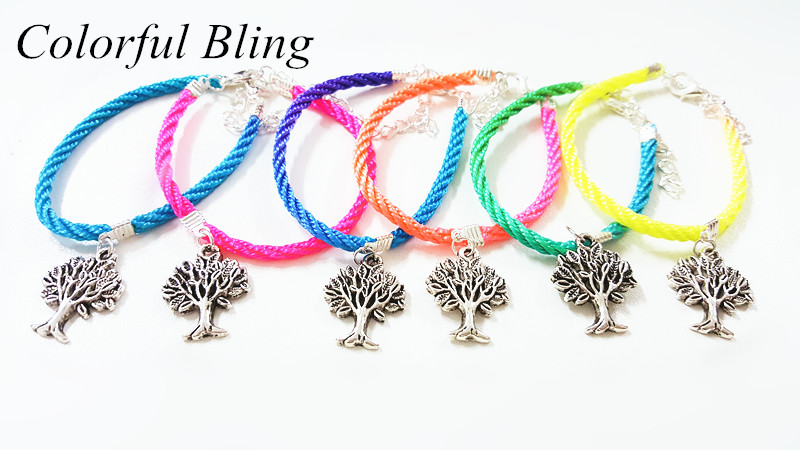 New Fashion 5 Colors Tree of Life Charm String Rope Bracelets Rainbow Multi-Colors For Women Handmade Mothers Day Gift Jewelry