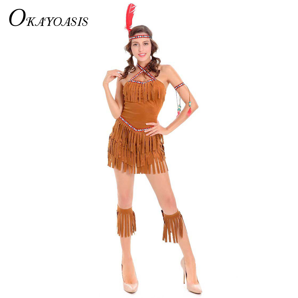 Online Shop Sexy Women Indian Native Costume Adult Girls Halloween Costume  Cosplay Clothing Gypsy Savage Hunter Uniform Costume for Adults |  Aliexpress ... - Online Shop Sexy Women Indian Native Costume Adult Girls Halloween