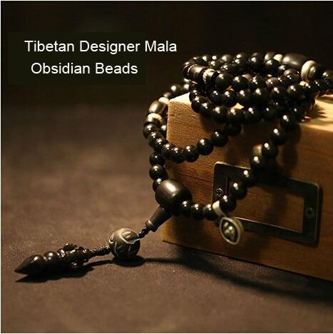 Designer Mala Genuine obsidian tibetan maa 108 payer beads mala blessed mala dorje amulet