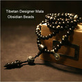 Diseñador Mala genuino obsidiana tibetano maa 108 cuentas de pagadores Mala bendijo Mala dorje amuleto