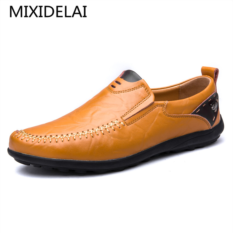 MIXIDELAI Fashion Casual Driving Shoes Genuine Leather Loafers Men Shoes 2018 New Men Loafers Luxury Flats Shoes Men Chaussure