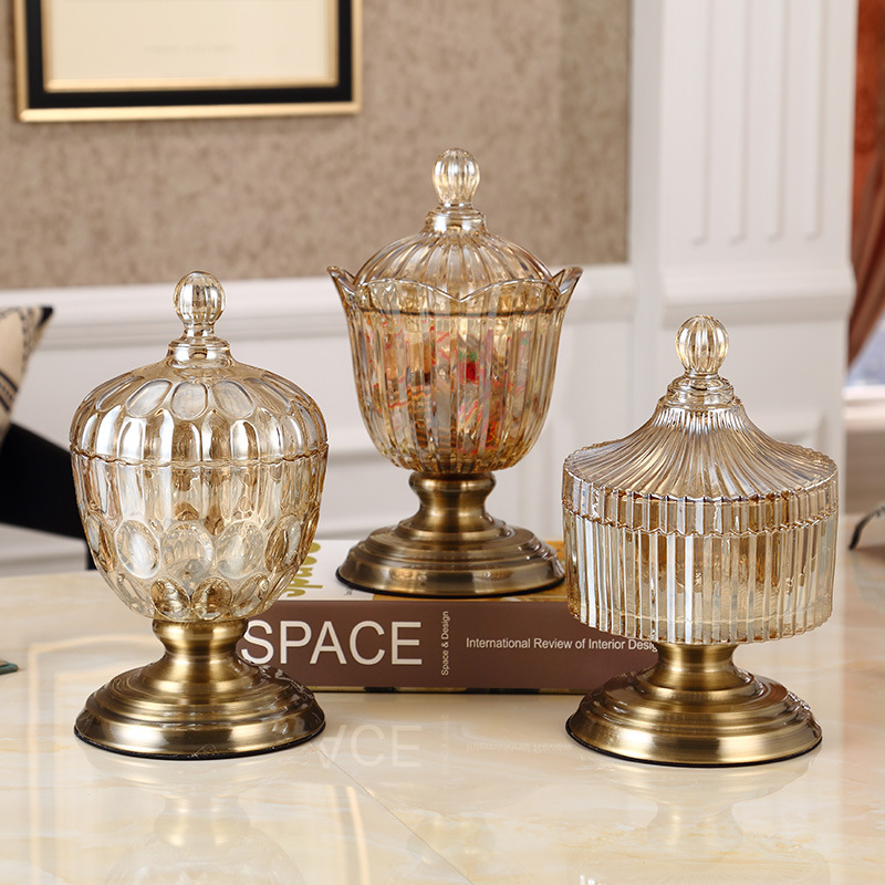 Crystal glass storage tank home decoration restaurant coffee table creative decoration dried fruit snacks cans wedding