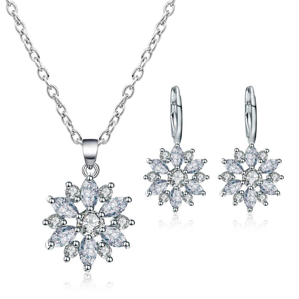 Oro Plateado De Mujer Cadena Collar Colgante de Diamantes de Imitación de Cristal Conjunto De Joyería Pendientes