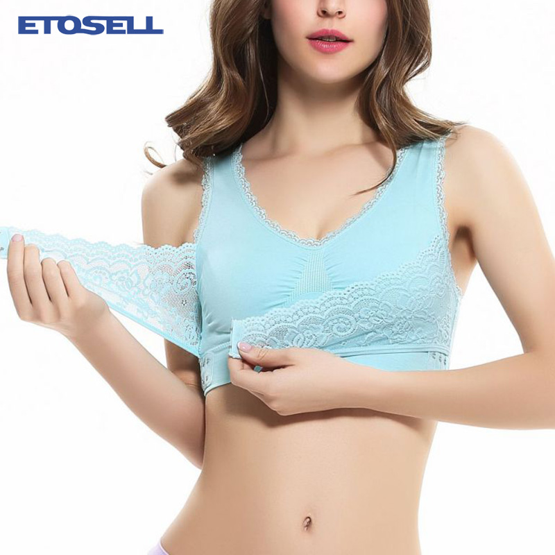 Stylish Front Closure Lace Bras For Women Comfy Cotton Sexy Lingeries Push Up Bra Full Cup Padded Underwire Support BH Brassiere