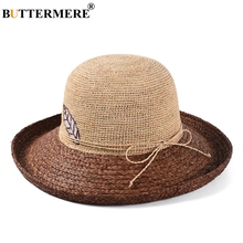 BUTTERMERE Raffia Straw Sun Hat Female Embroidery Coffee Hats For Women Patchwork Wide Brim Ladies Fashion Bow Summer Beach Cap