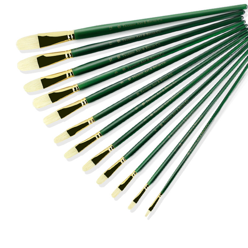 6pcs Green Long Pole Handle Art Paint Brush Brush Set With Oval Shape Pig Bristles Hair Handmade Pen Oil Brush Acrylic Paint Art