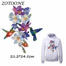 ZOTOONE Big Bird Flower Patch for Clothing Iron-On Garment Heat Transfer Washable Badges Diy Accessory T Shirt Applique Patches дрель аккумуляторная hammer acd183li 2 0 premium