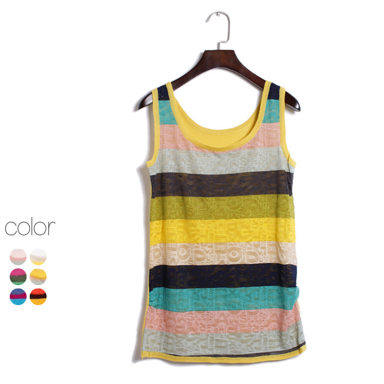 f1e5c3d6cd Almoda Women Colorful Striped Tank Tops Knitted Slim Thin Casual Female  Camisole Rainbow Hit Color Sleeveless Top in 6colors-in Tank Tops from  Women's ...