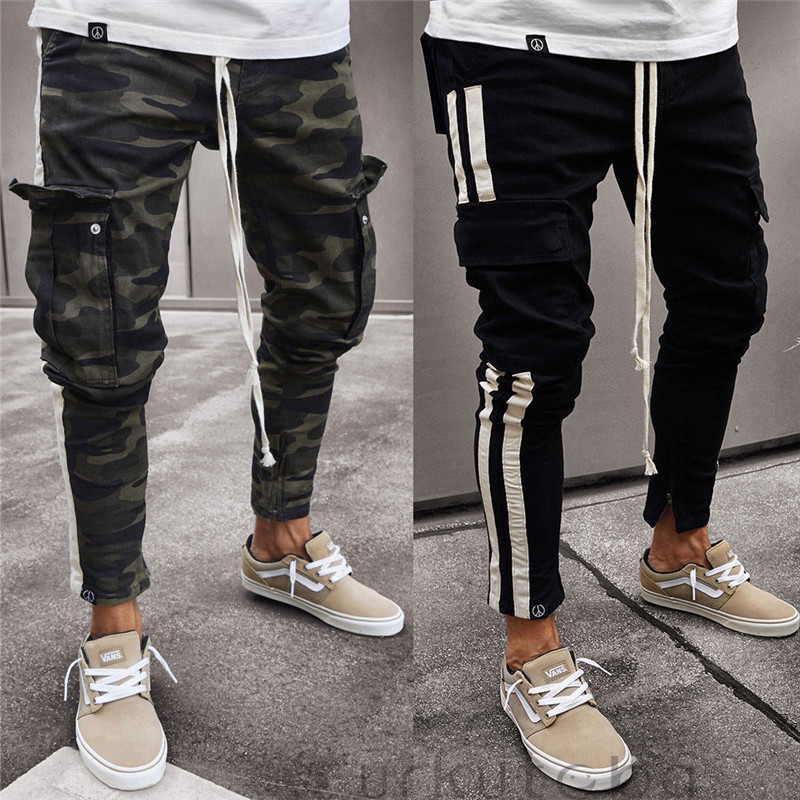 Fashion Men Trousers Casual Camouflage Pants Military Work Cargo Camo Combat Plus Size Pant Side Stripe Hip Pop Style Streetwear(China)