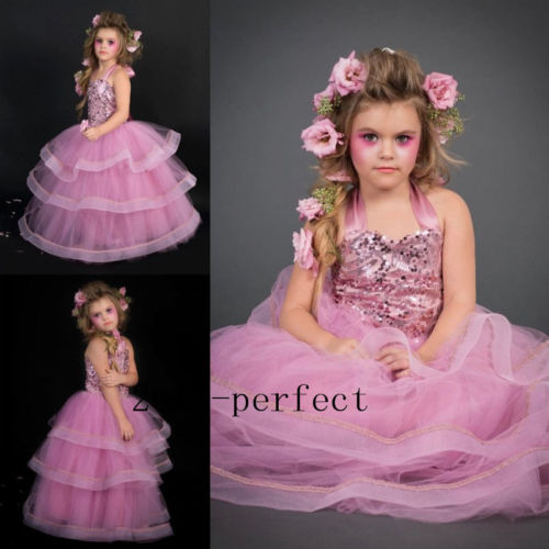 Pink Princess Flower Girl Dresses Formal Evening Prom Party Sequin Top Gowns New 2017 new summer girl beading dress sequin flower ruched kids party dresses weddings princess girl evening prom girl clothes