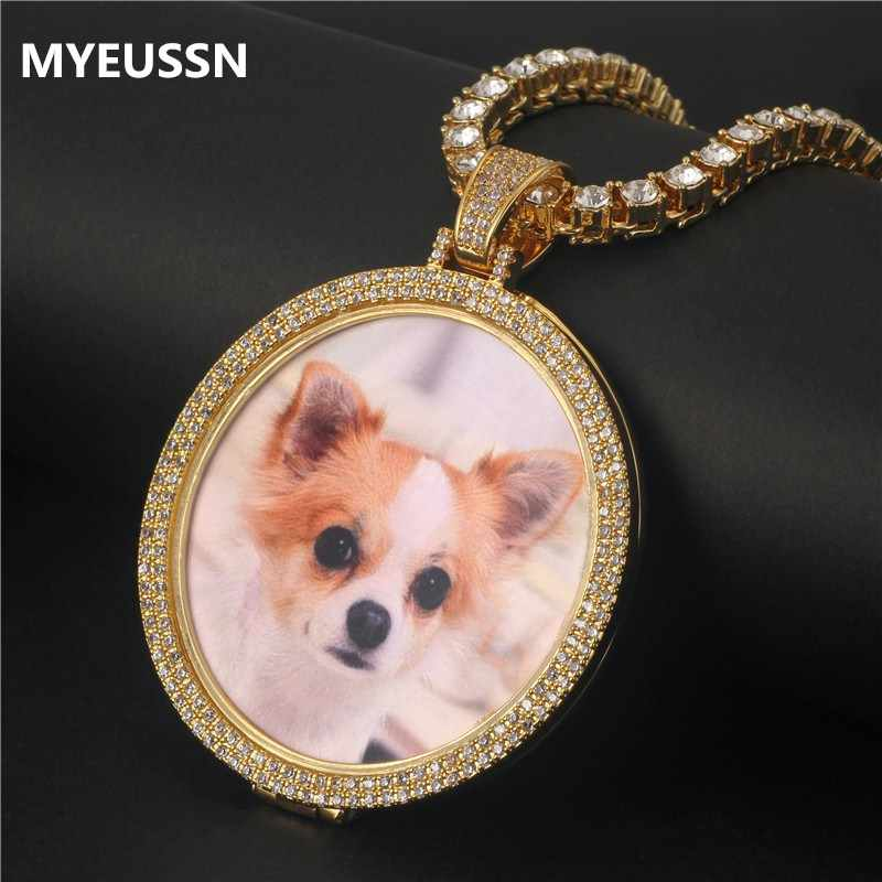 Custom Family Photo Pendant &Necklace Ice out Zircon Double Layers Memory Medallions Tennis Chain Necklace Hip Hop Jewelry Gifts