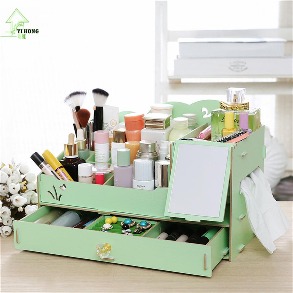 YIHONG Wooden Jewelry Box Cute Cat Pen Box Desktop Storage Assembly DIY Wood Makeup Organizer Cosmetics Storage Box A1009c