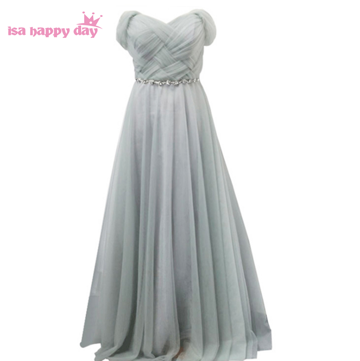 princess style lavender long gray   bridesmaid     dress   floor length bridemaids bridal tulle gowns   dresses   under 100 weddings B3404