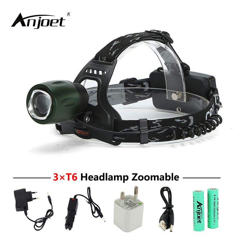 ANJOET single headlamp xml t6 led headlight Zoomable head torch hunting fishing lamp + charger + USB adapter + 18650 battery sitemap 33 xml