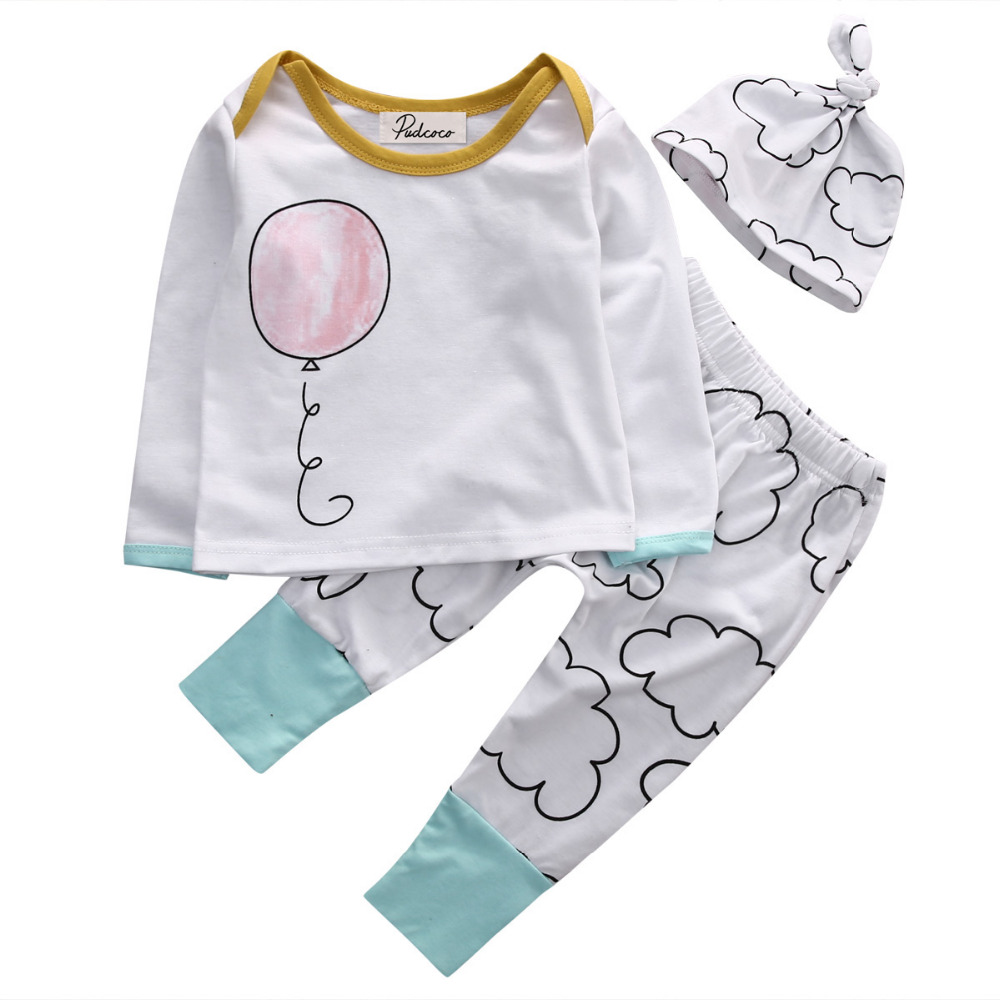 ₪Newborn Baby Boy Girl T-shirt Top Pants Hat Outfit Set Clothes ...