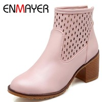 ENMAYER New Autumn Boots Warm Women Ankle Boots High Thin Heels Sexy Lace Up Fashion Martin